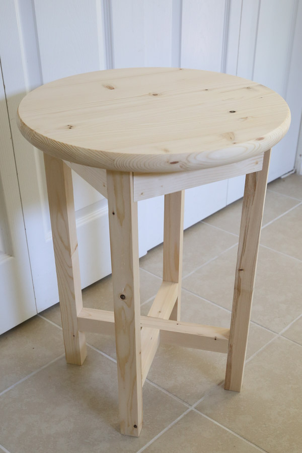 DIY end table assembled before adding stain
