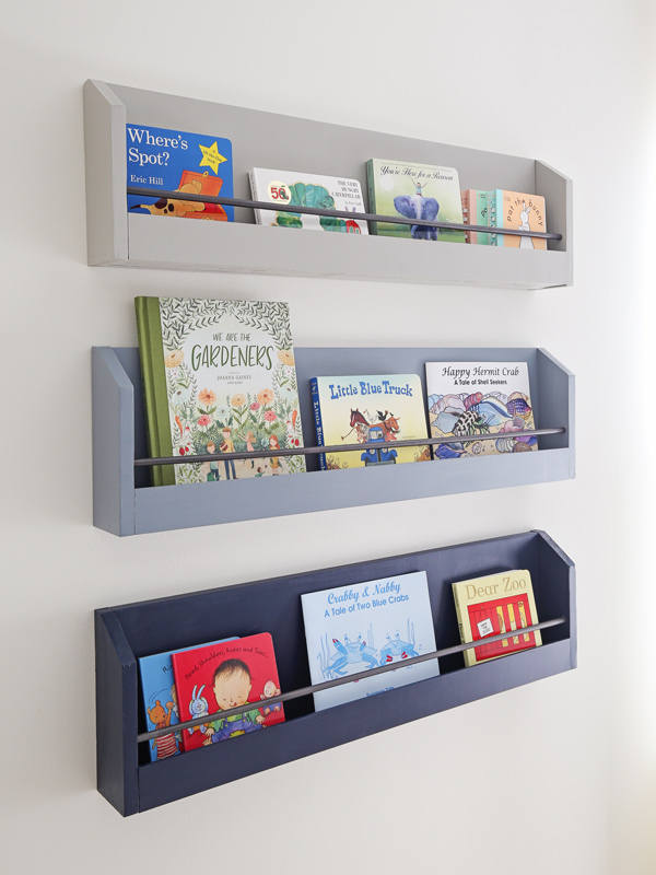 DIY kids bookshelf on wall