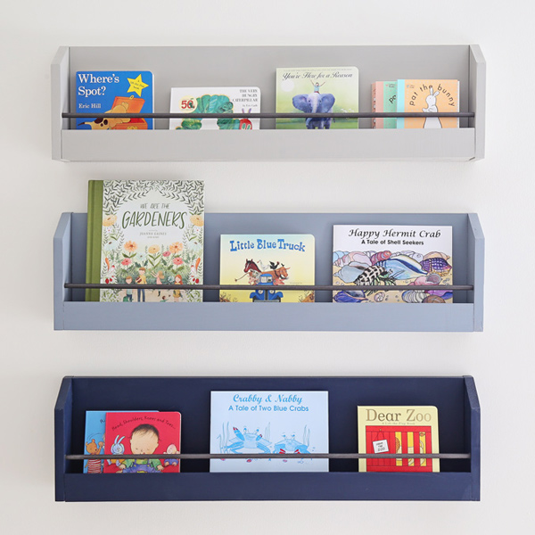 DIY kids bookshelves on wall