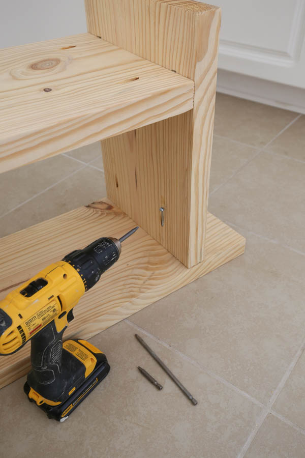 use drill and kreg screws to attach bench sides to bench top