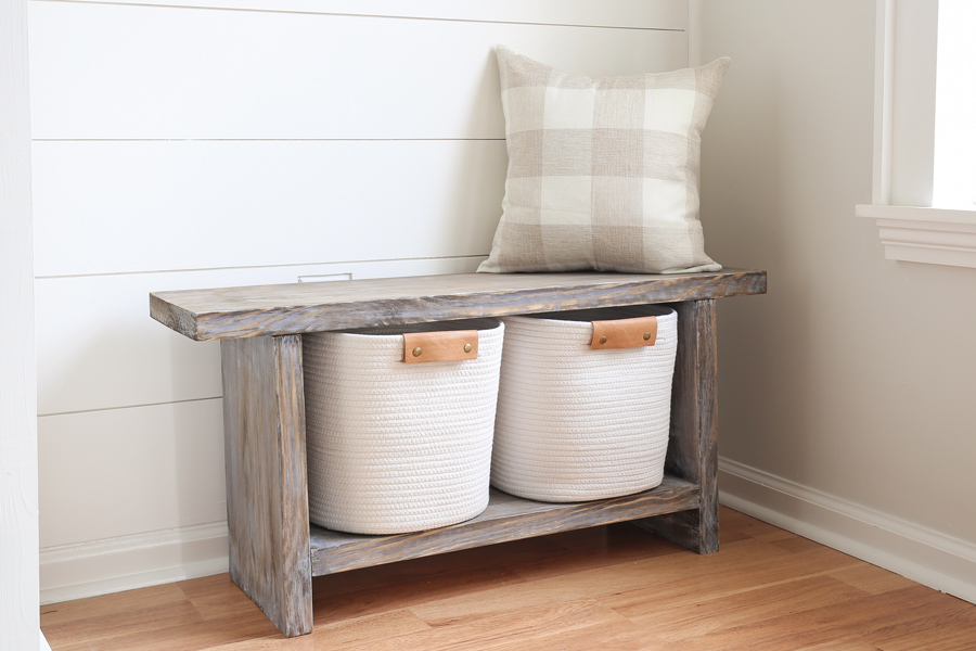 DIY entryway bench with a weathered wood gray finish