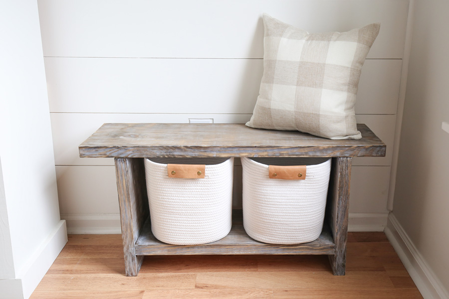 DIY Entryway bench with bench storage shelf and white baskets