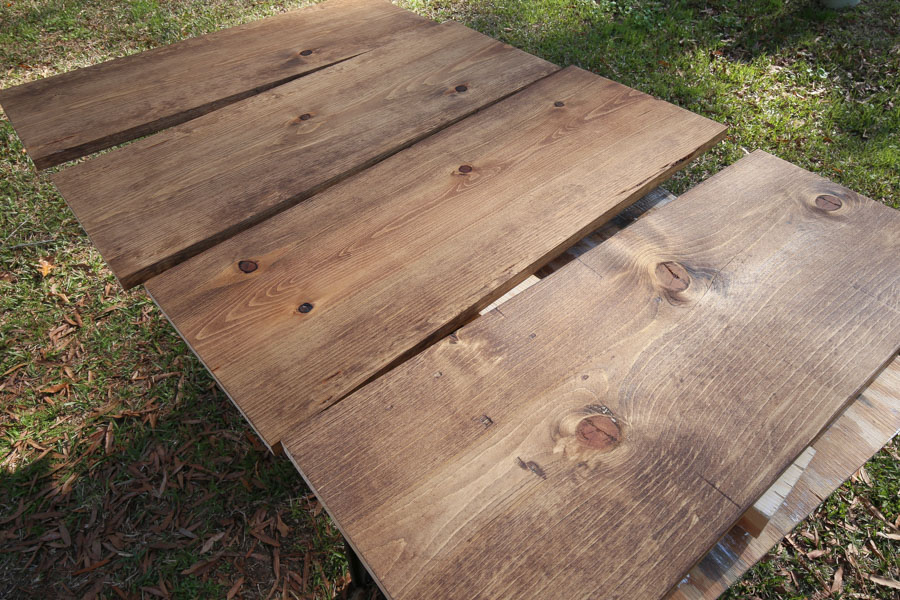 staining wood DIY pantry shelves