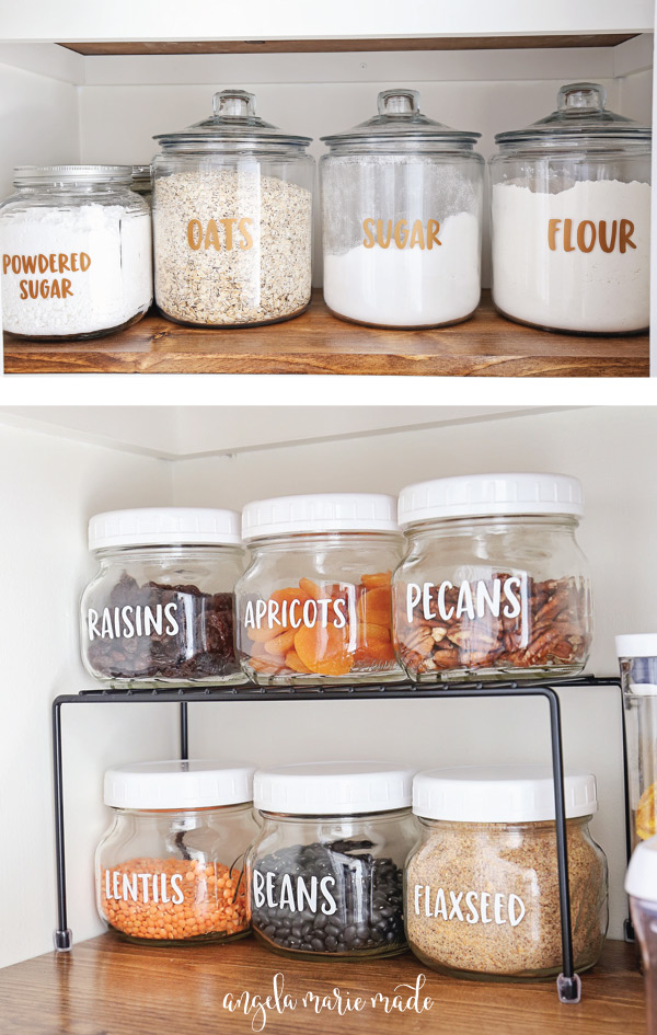how to make labels with cricut and pantry labels on pantry shelf