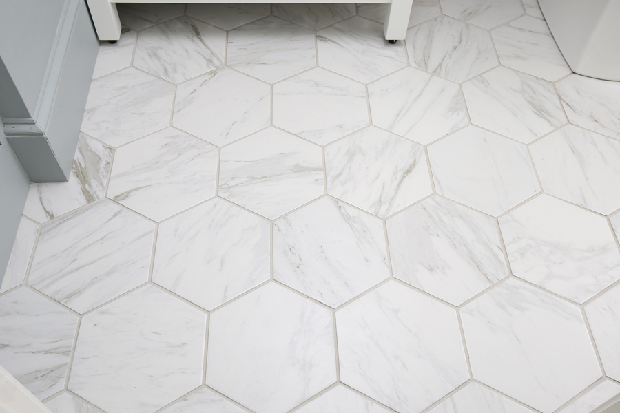 My Favorite Porcelain Marble Tile on the floor of our master bathroom