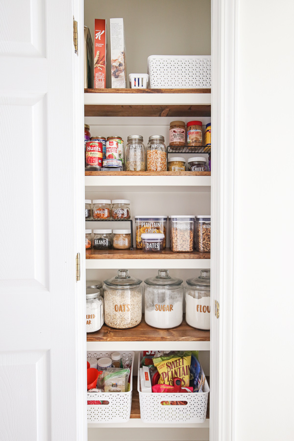 small pantry organization makeover with all pantry items organized