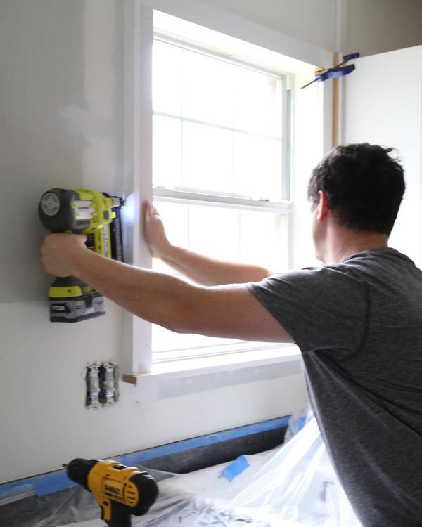 adding custom window trim to window with brad nailer