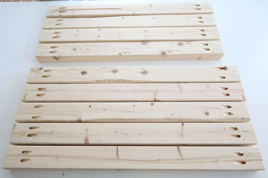 chair frame boards with pocket holes on ends