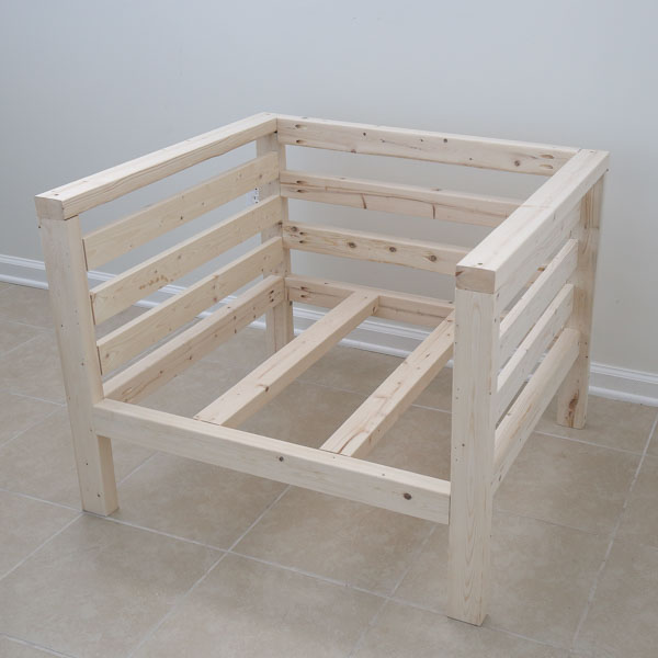 Finished building DIY outdoor chair before adding stain