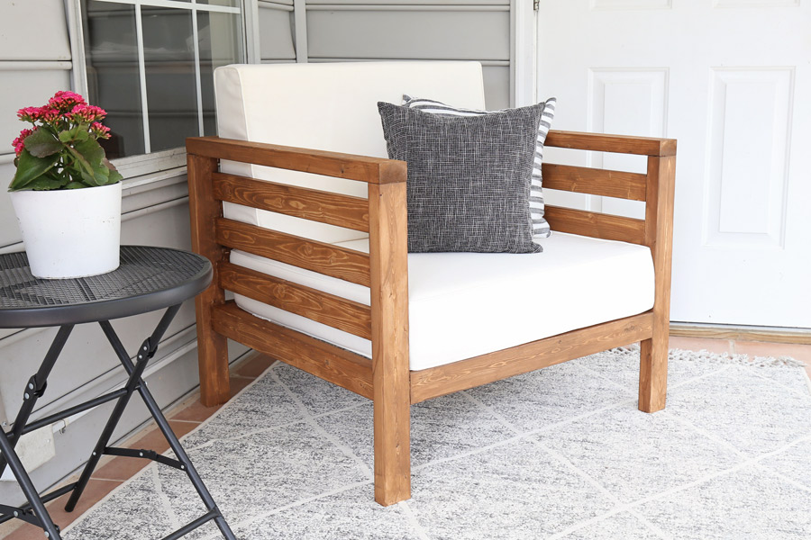 DIY patio chair on porch