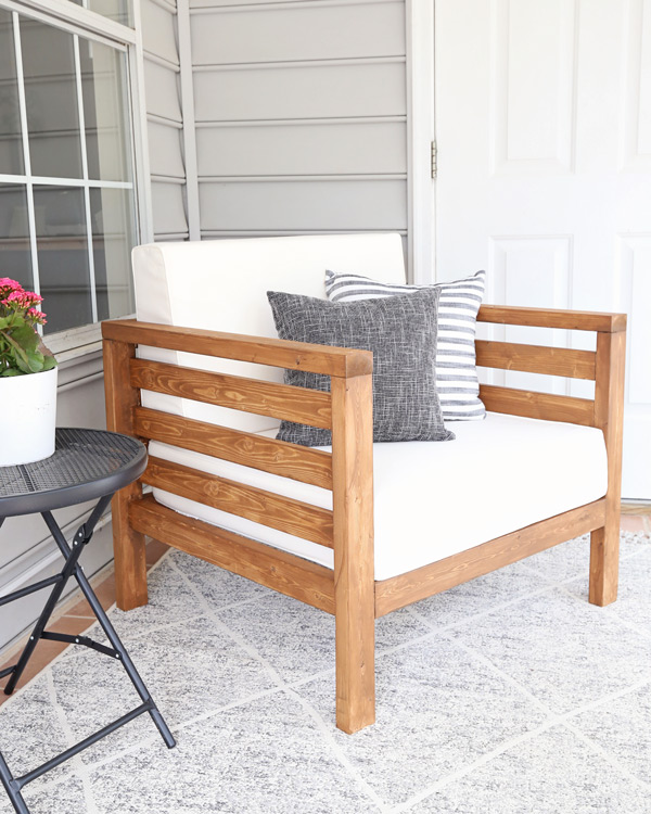 DIY outdoor chair on patio