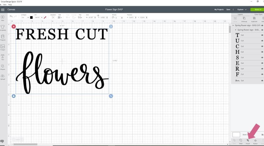 spring design svg file opened in cricut design studio