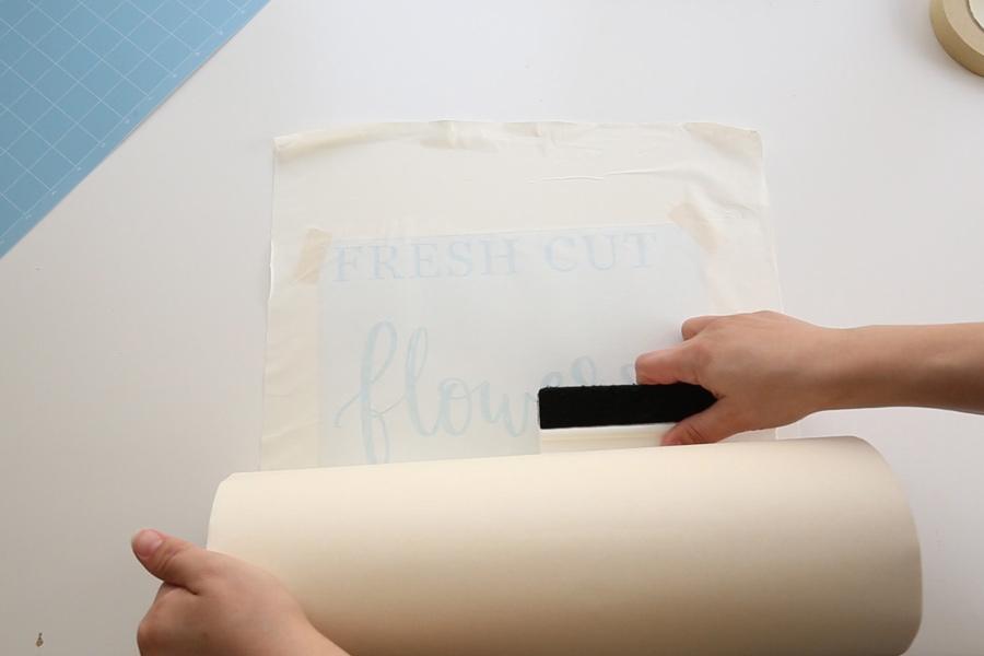 applying to transfer tape to vinyl stencil