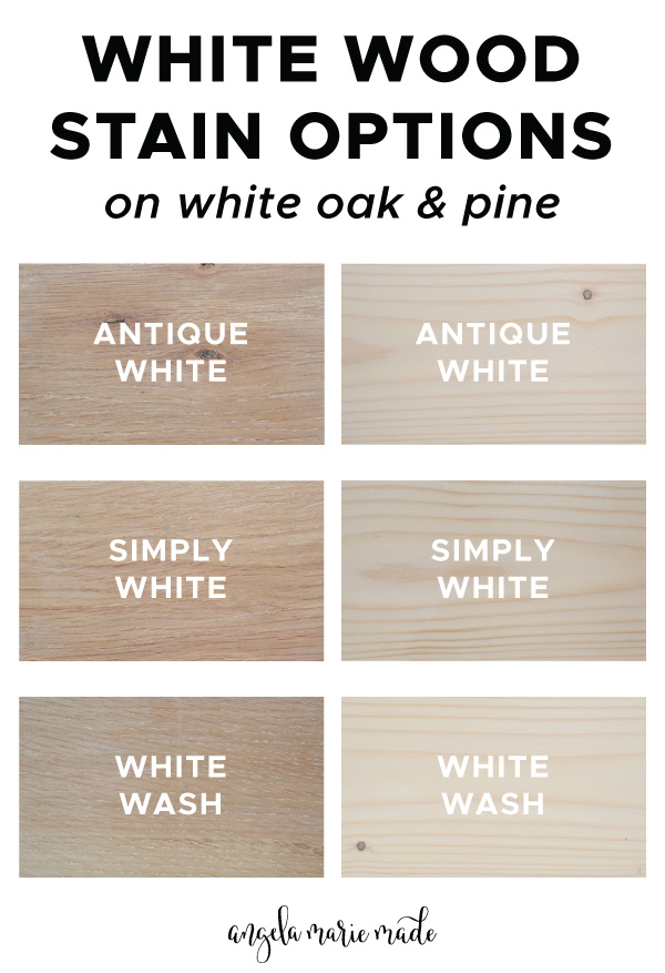white wood stain options shown on white oak and pine wood samples