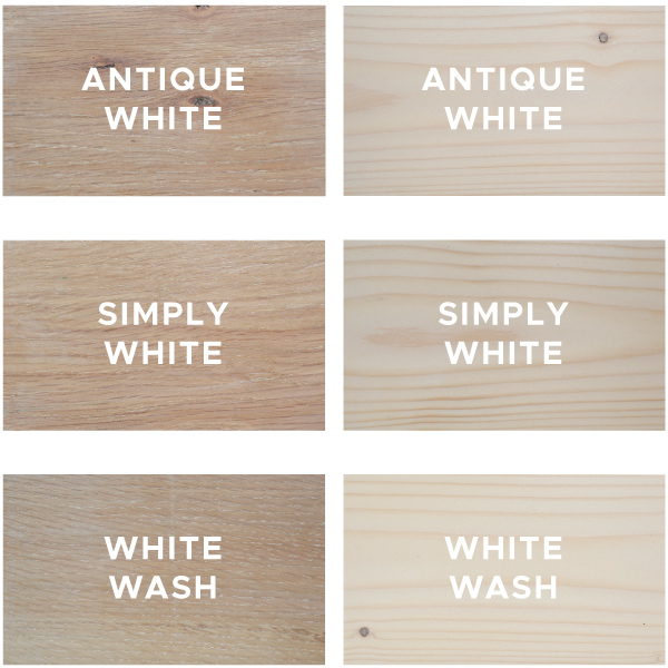 6 white wood stain samples