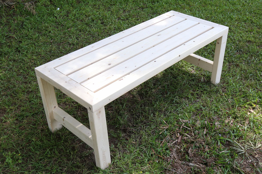 Easy DIY outdoor coffee table build before adding stain