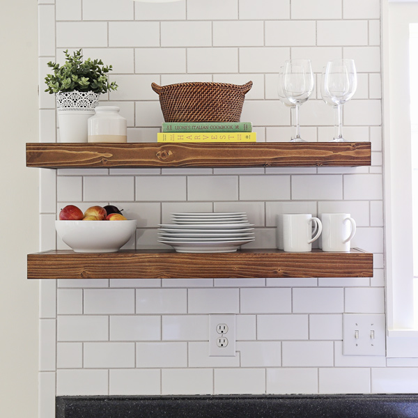 floating wood kitchen shelves