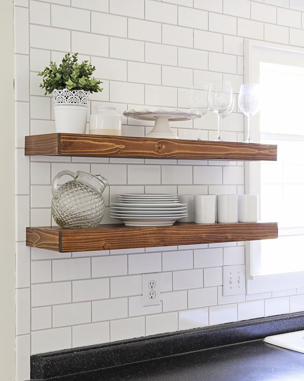 DIY open kitchen shelves