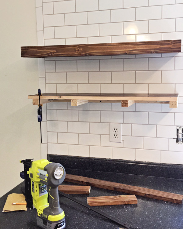 DIY kitchen floating shelves installation