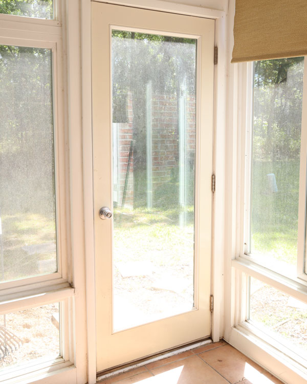 patio door before painting and makeover