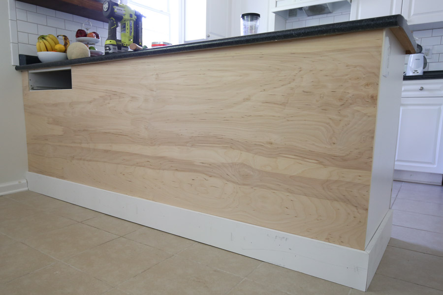 attach baseboard to kitchen island with brad nails