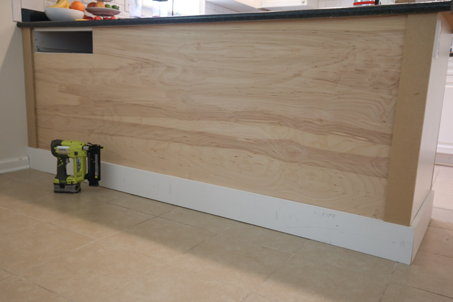 attach side battens using MDF to kitchen island