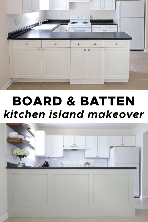 board and batten kitchen island makeover before and after pics