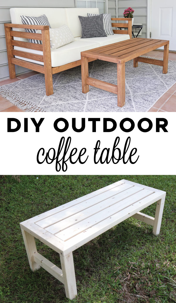 DIY outdoor coffee table with matching DIY outdoor couch