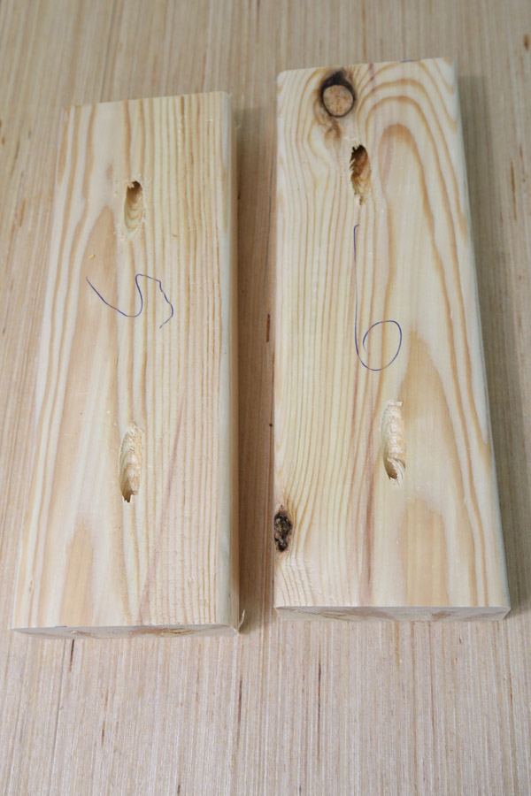 Add a pocket hole to each side of the 2x4 boards