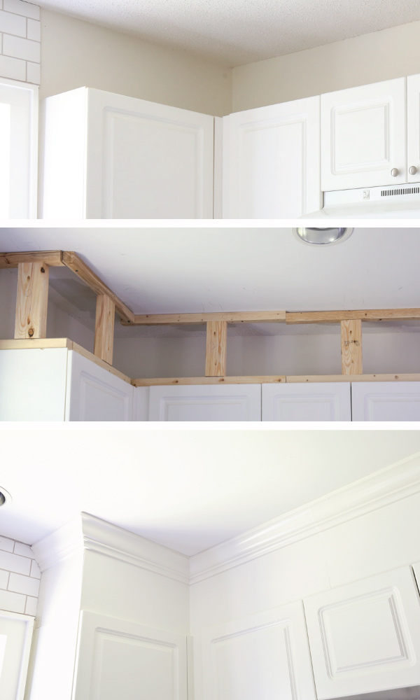 infographic of how to enclose space above kitchen cabinets