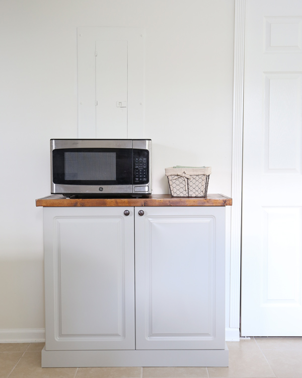 DIY built in kitchen cabinet with DIY wood countertop and microwav