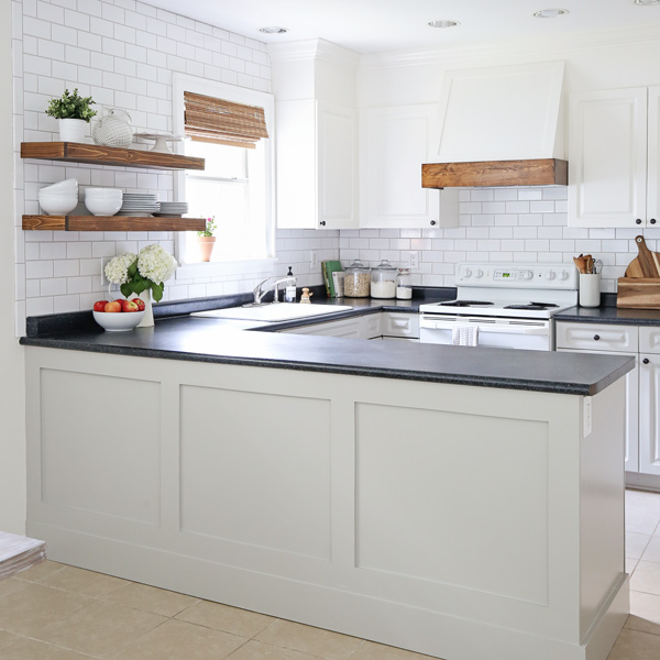 DIY kitchen makeover with a DIY board and batten island