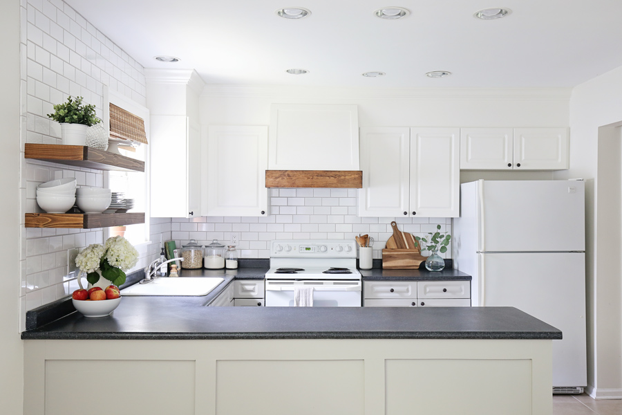 kitchen makeover with popcorn ceiling scraped