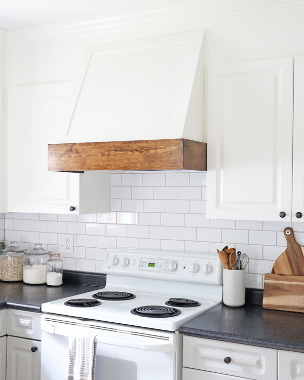 DIY range hood cover in kitchen makeover