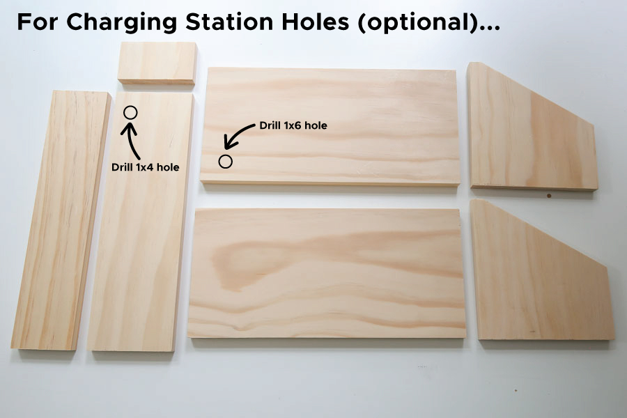 where to drill holes on wood forDIY charging station
