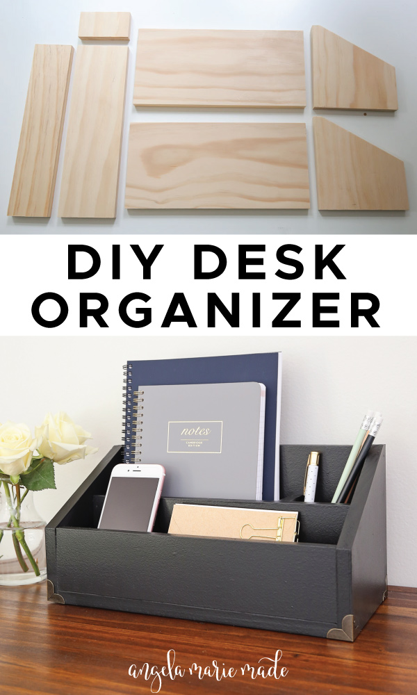 DIY desk organizer unfinised wood pieces and final build