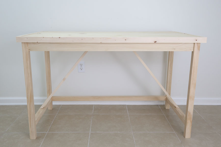 DIY Computer desk built before finishing
