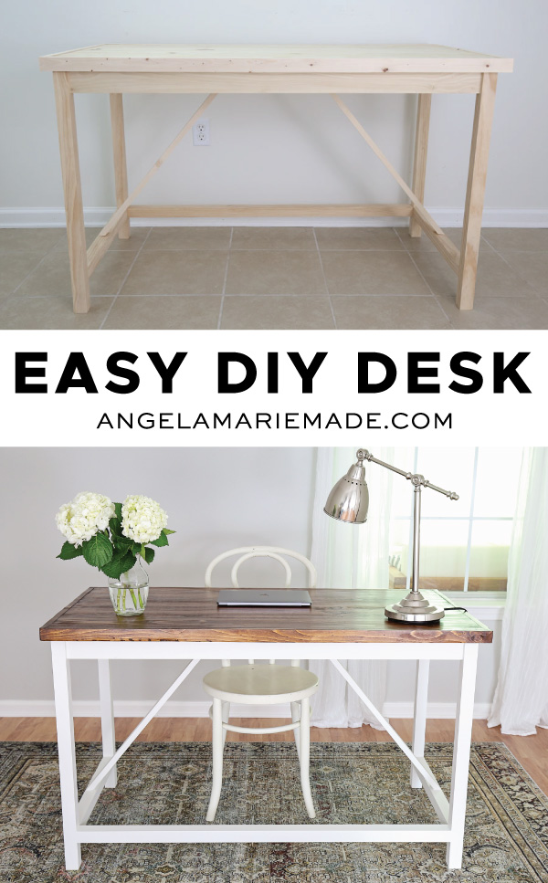 easy diy desk before and after photo pin