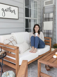 fall porch decor and sitting on outdoor couch