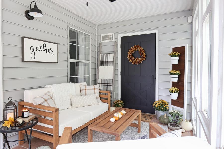 cozy fall porch decor