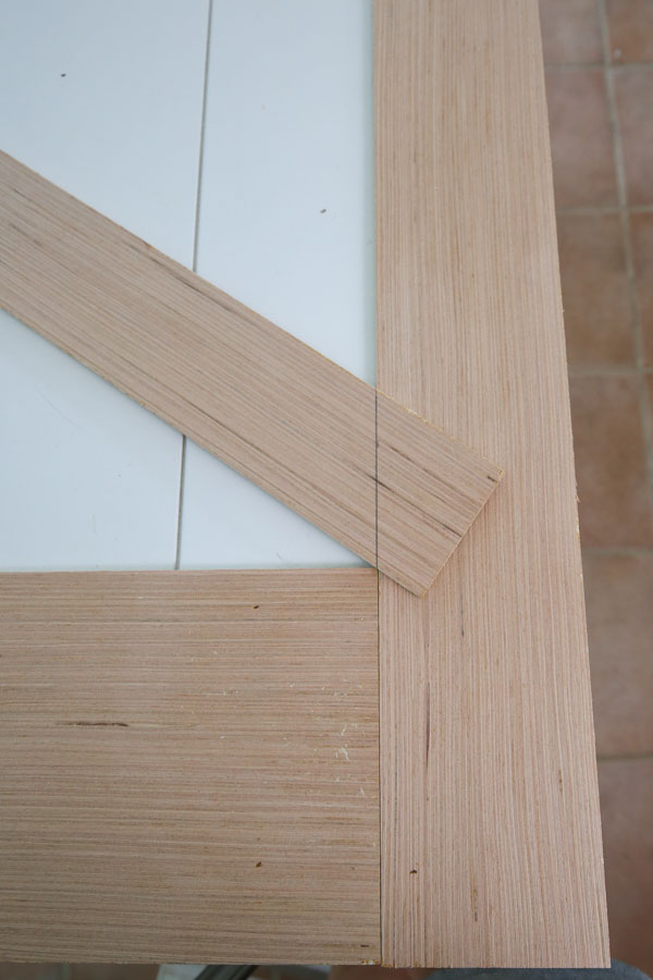 marking cut line for angled barn door trim boards