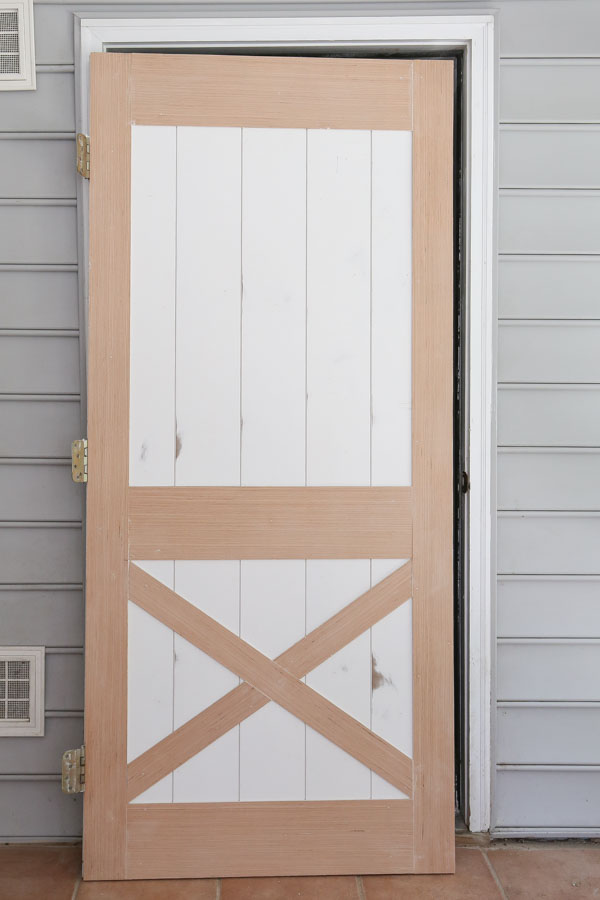 DIY faux barn door before painting