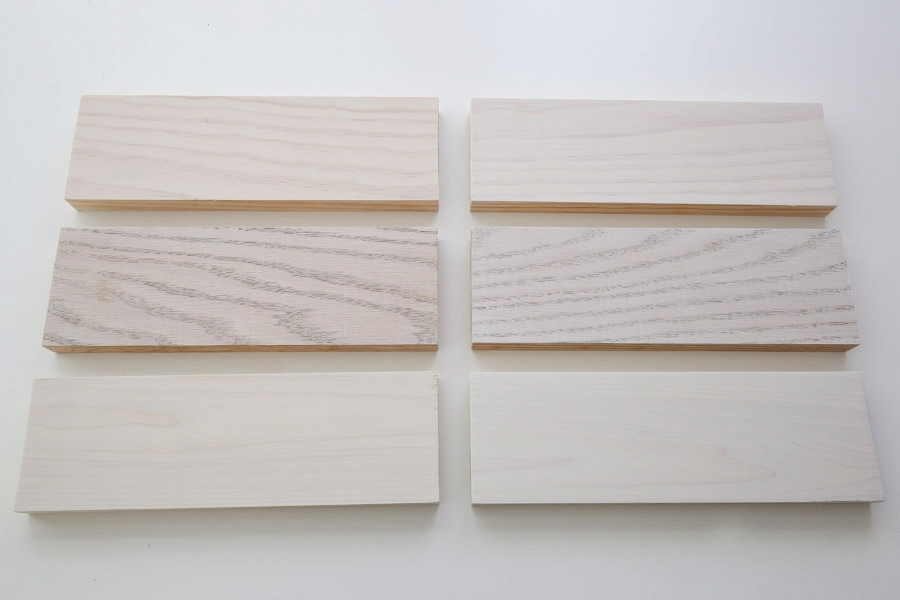 one and two coats of whitewash paint on wood board samples