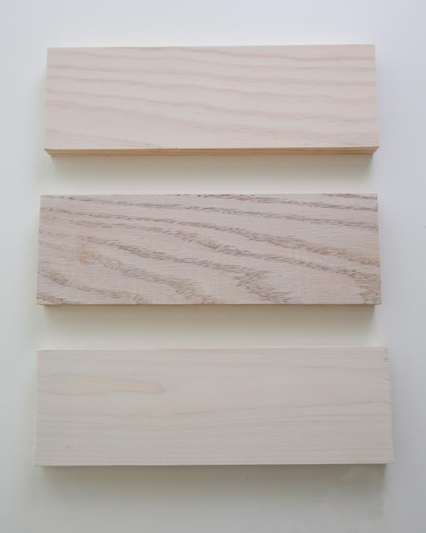 one coat of whitewash paint on pine, oak, and poplar