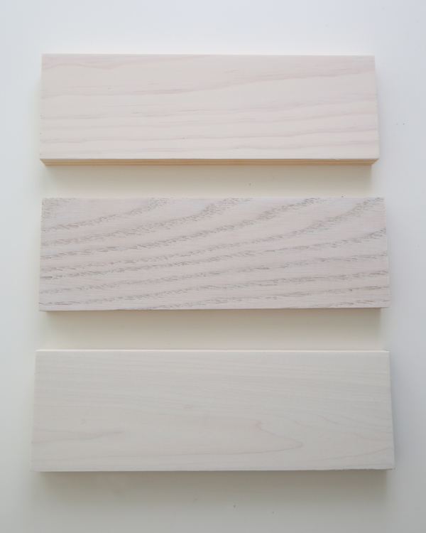 two coats of whitewash paint on pine, oak, and poplar
