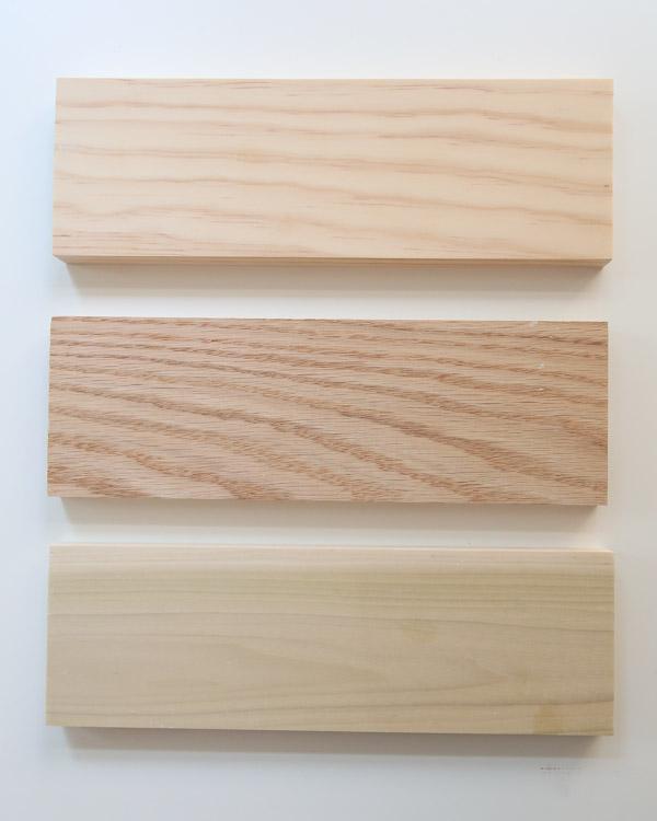 unfinished pine, oak, and poplar before applying whitewash