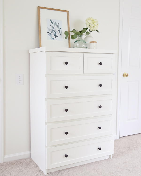 IKEA dresser hack painted white with black knobs