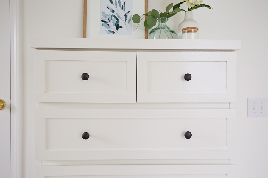 up close of drawers of ikea malm dresser hack