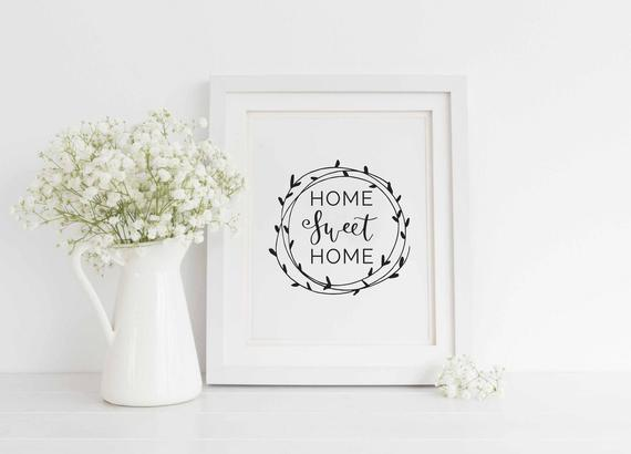 Home Sweet Home Printable Farmhouse Printable Welcome home | Etsy