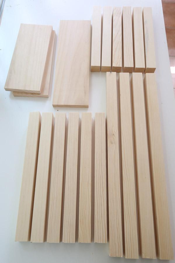 DIY nightstand lumber cut to size